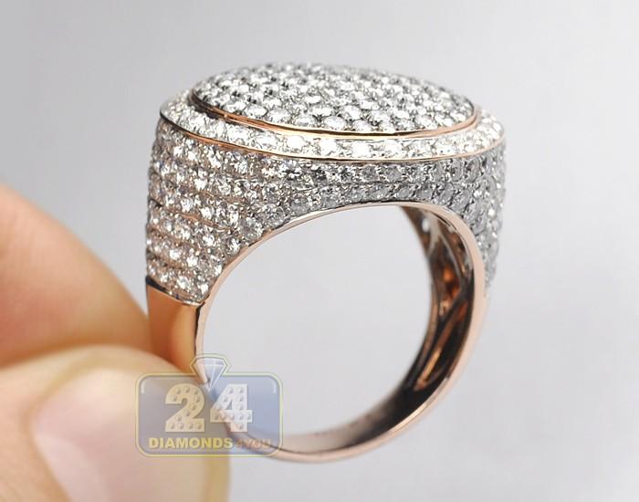 Mens Round Shape 634 Ct Diamond Ring Signet 14K Rose Gold