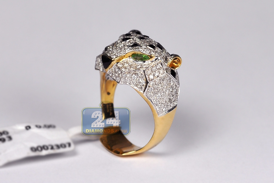 Mens Diamond Tiger Face Ring 14K Yellow Gold 193 Ct