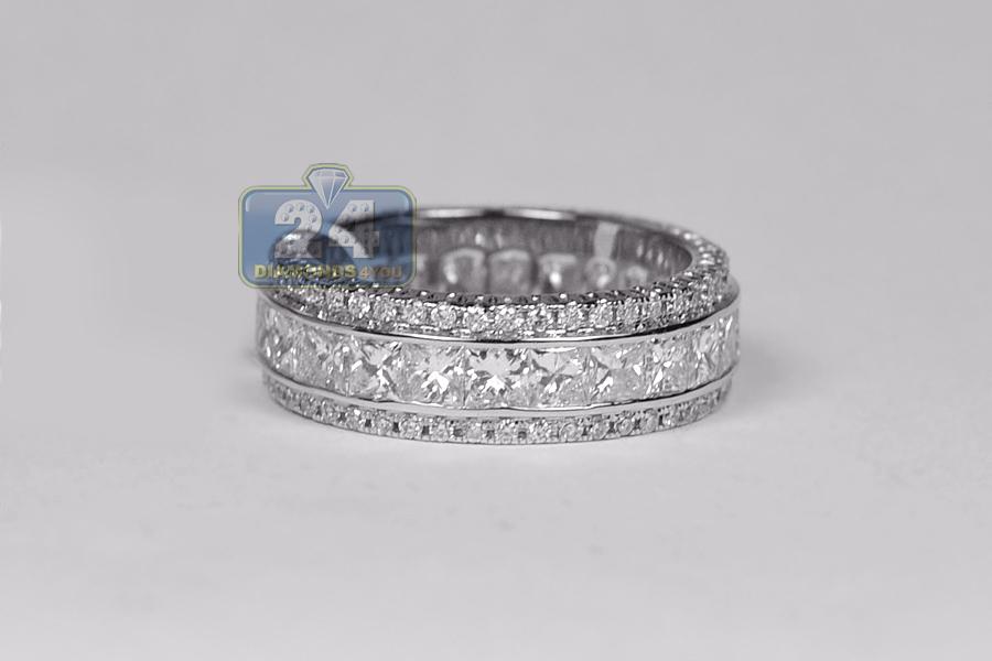Princess Round Cut Diamond Eternity Band Wedding Ring 18K Gold