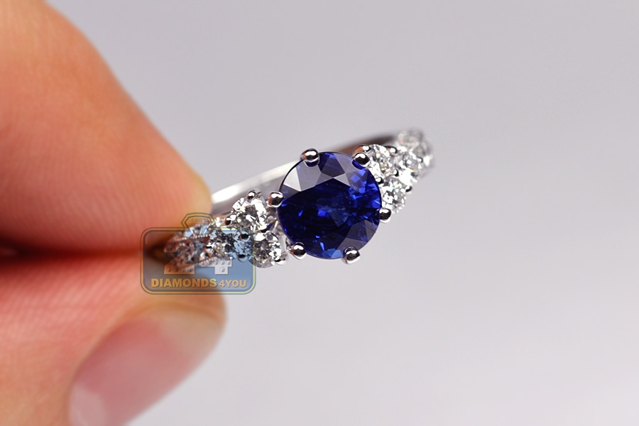 Womens Blue Sapphire Diamond Womens Ring 18K White Gold 319ct
