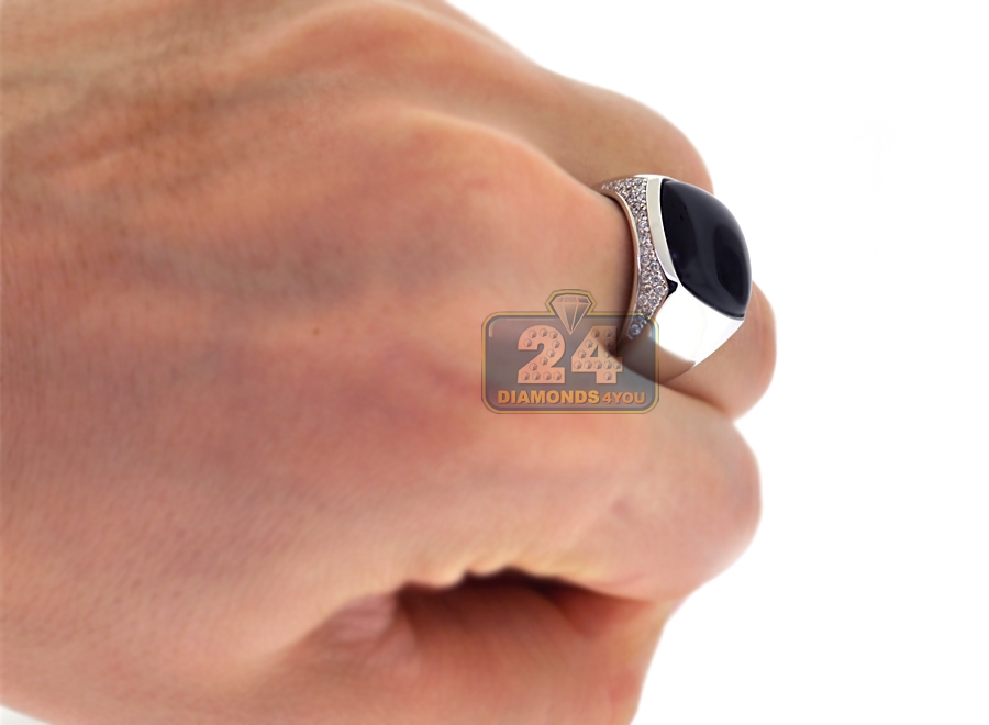 Mens Diamond Cabochon Onyx Pinky Ring 18K White Gold 040 Ct
