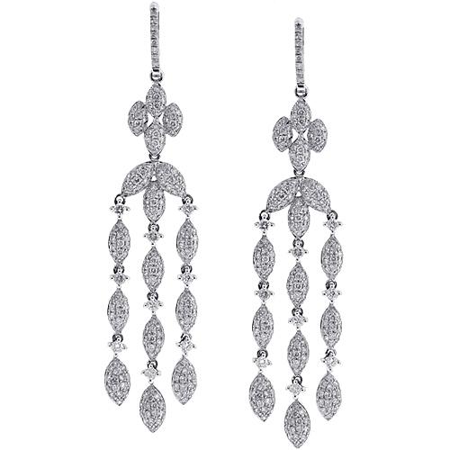 Womens Diamond Chandelier Drop Earrings 14k White Gold 5 36 Ct