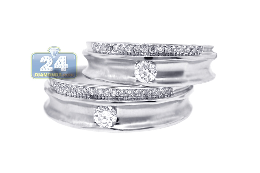 Solitaire Diamond Wedding Rings His Her Bands Set 18K Gold