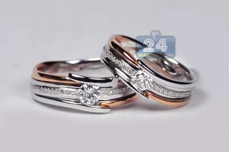 Diamond His Her Wedding Bands Set 18K Two Tone Gold 078 Ct