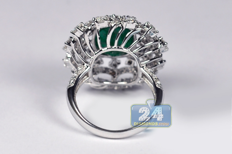 Womens Emerald Gem Diamond Dome Ring 18k White Gold 662 Ct