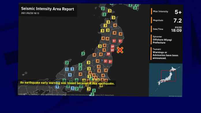 Séisme de magnitude 7,2 dans le nord-est du Japon