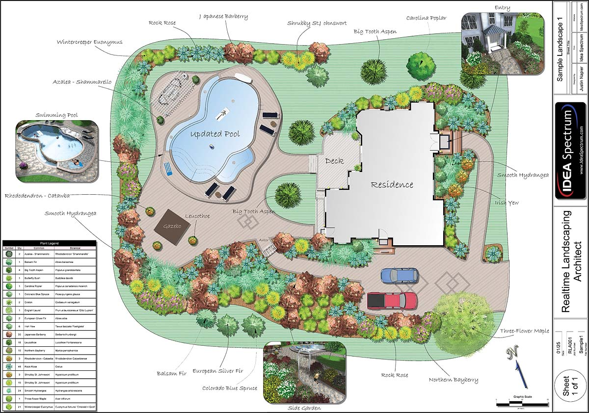 complex landscape design with pool and deck - Garden Design Birds Eye View