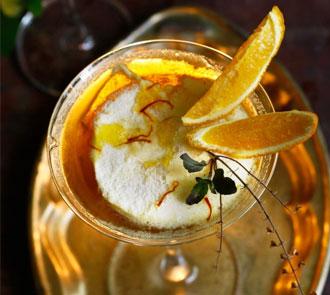 Organic Vanilla Lime Pannacotta with Honey Saffron Gelee