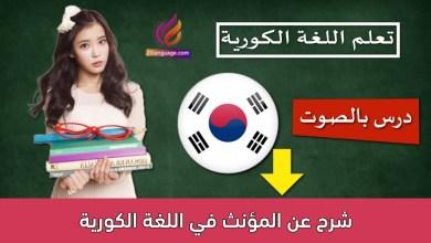 شرح عن المؤنث في اللغة الكورية