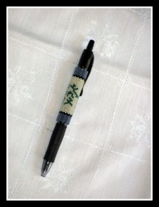green dragon tile beaded pen