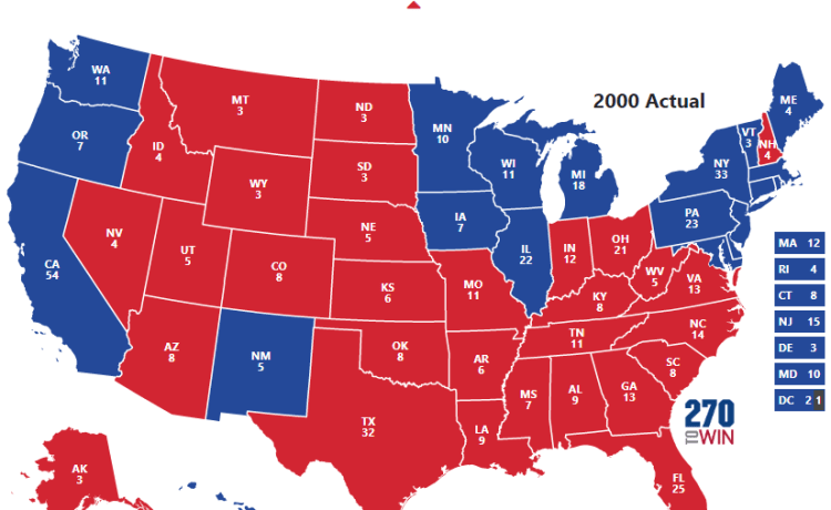 Image result for electoral college map 2000