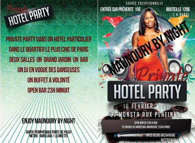 Publicité d'une soirée au 29 avenue du Maréchal Maunoury Paris 16eme | Infograpgie : Bizouk