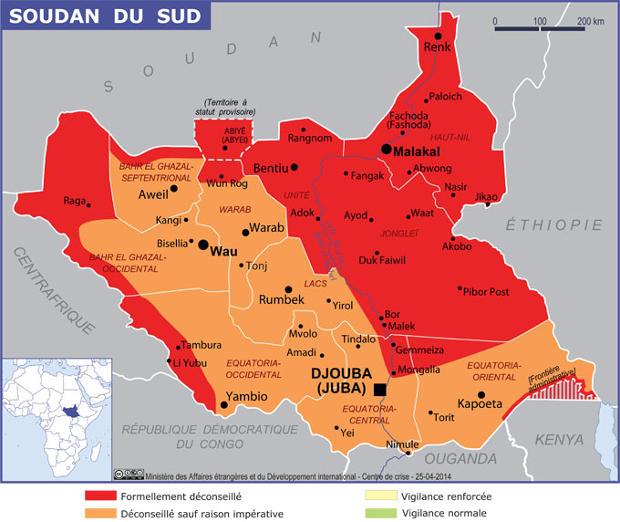 Guerre civile et Insécurité au Soudan du Sud | Carte : Ministère français des Affaires Étrangères et du Développement International