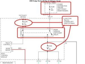 2000 Dodge Stratus Rear Window Defrost: Electrical Problem
