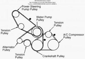 2002 Mitsubishi Montero Tensioner Pulley and Belt: Engine