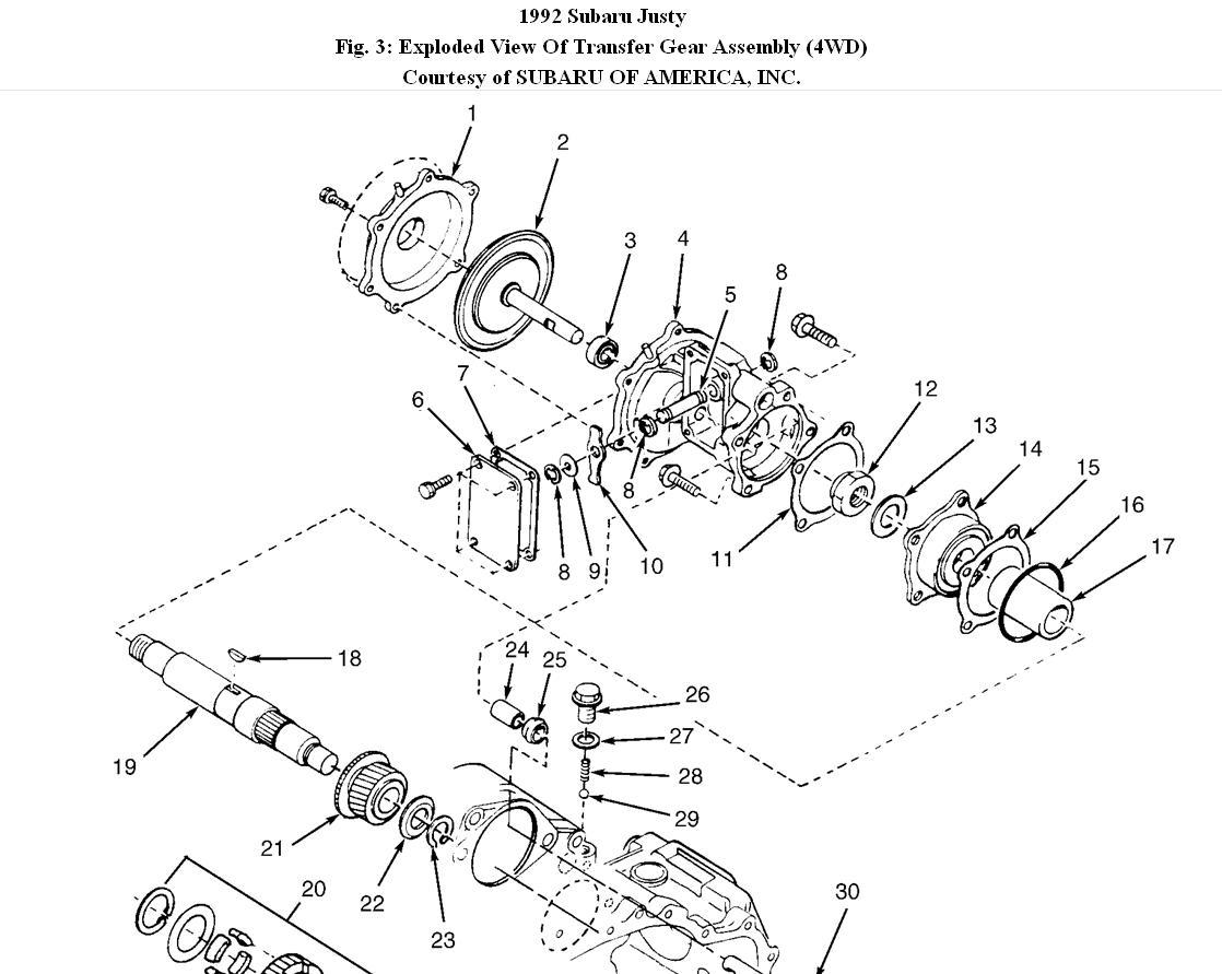 Subaru Justy Bearing Diagram