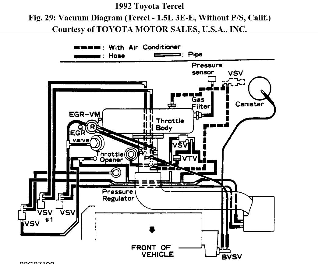Manifold Intake Diagram For Tercel E3