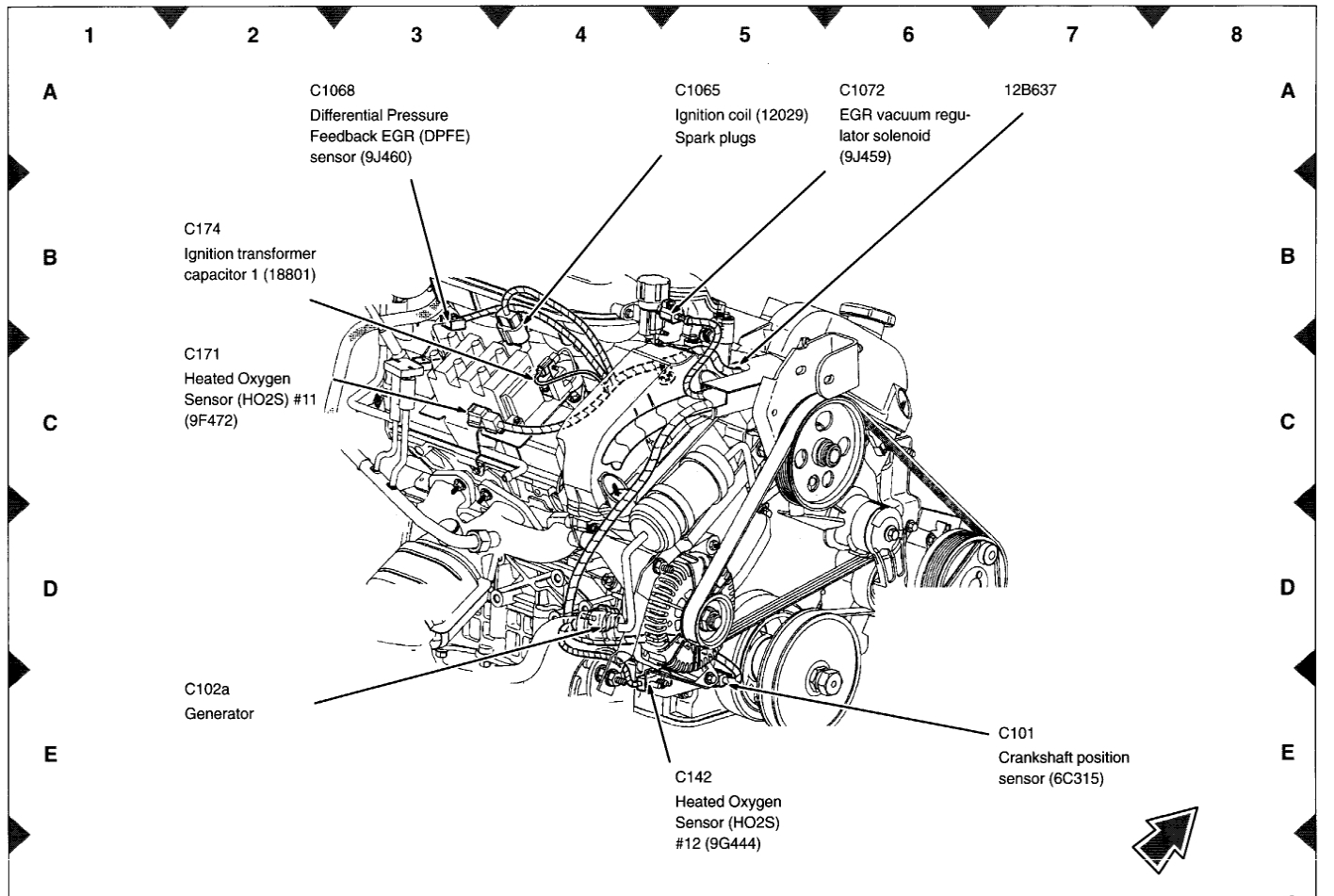 Crankshaft Position Sensor Located 6 Cyl Automatic