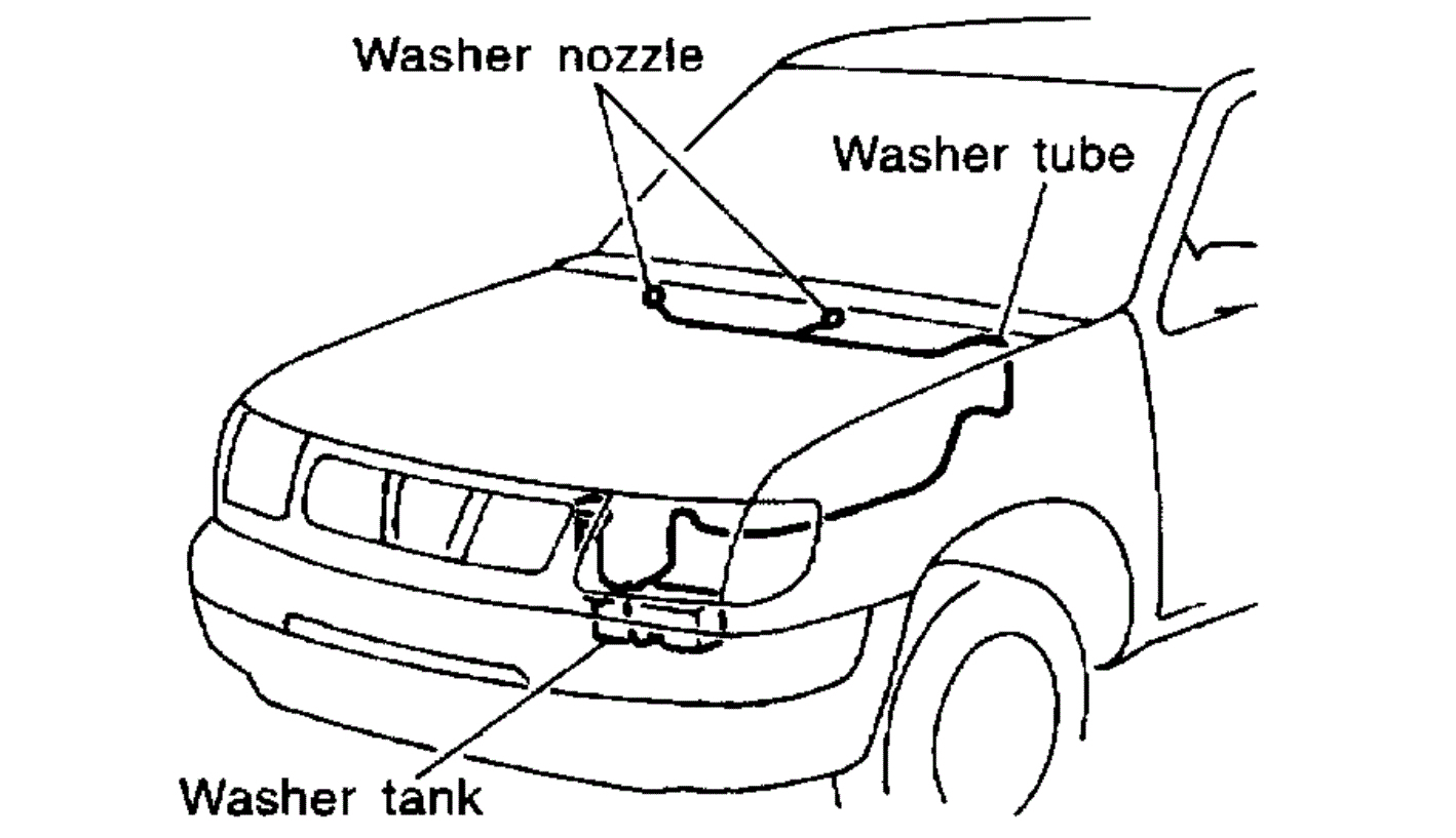 Mounting Location For Windshield Washer Reservoir And Pump