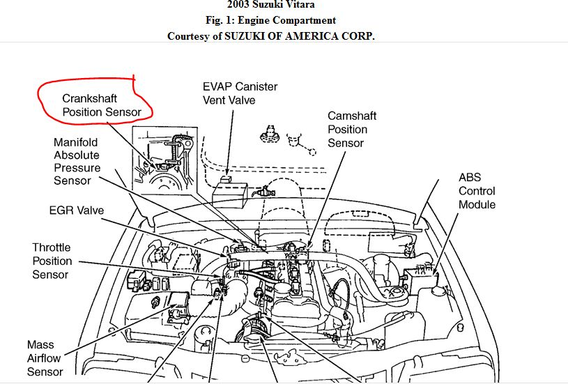 Location Aerio Crankshaft Position Suzuki Sensor