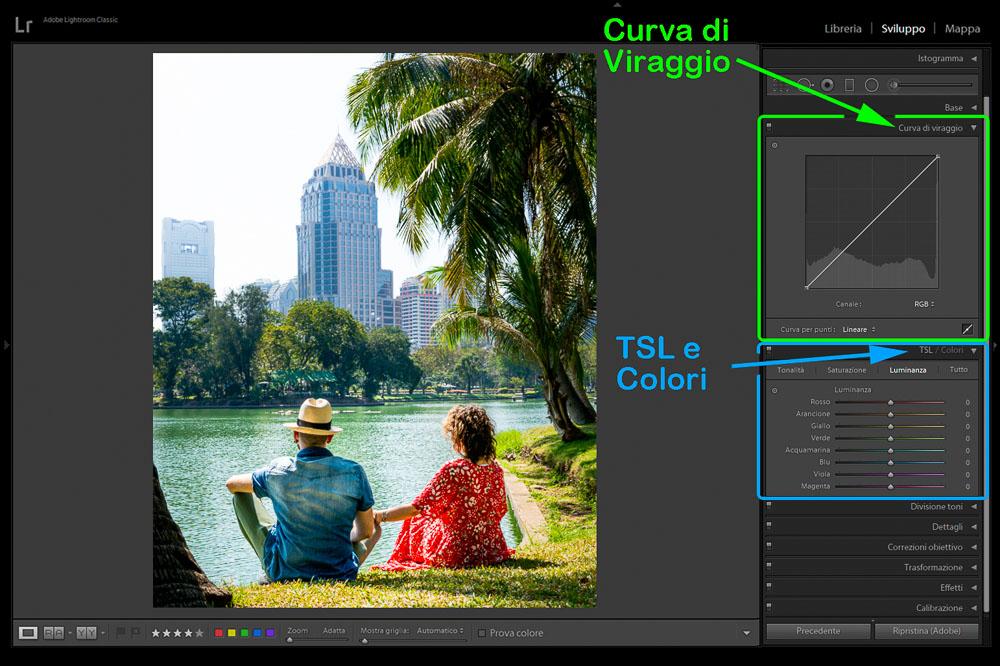 Post Produzione Foto con Lightroom Curva di Viraggio e TSL 2 Cuori in Viaggio