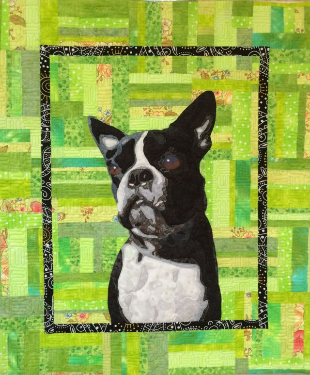 quilted pet portrait boston terrier