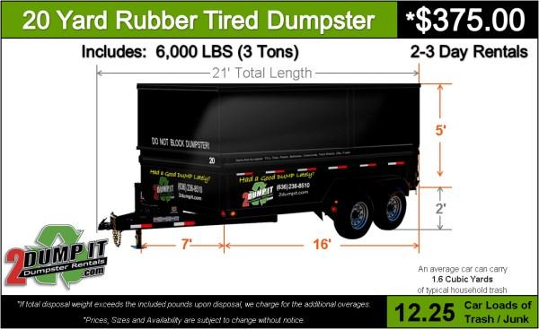 20 Yard Rubber Tired Dumpster - Rent a 20 Yard Dumpster