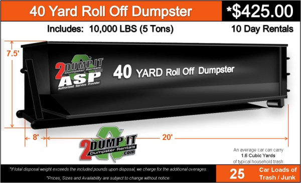 40 Yard Roll Off Dumpster Rental