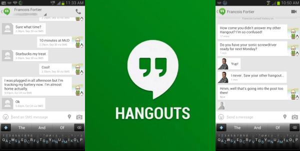 Hangouts vs SMS messages