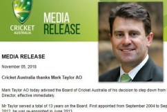 Mark Taylor explains why he resigned from Cricket Australia's board