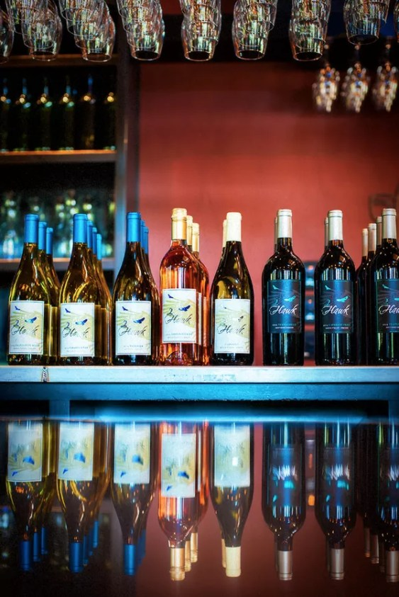 2Hawk Vineyard and Winery Tasting Room Bar Wine Bottles and Glasses