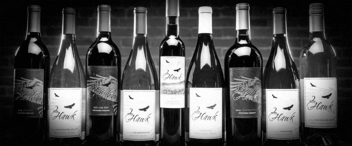 2Hawk Vineyard and Winery Group of Wines (Grayscale)