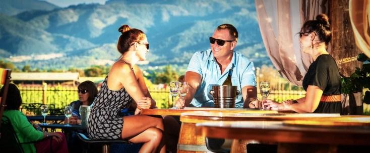 2Hawk Vineyard and Winery Friends Enjoying Wine-Tasting Against Stunning Mountain Backdrop