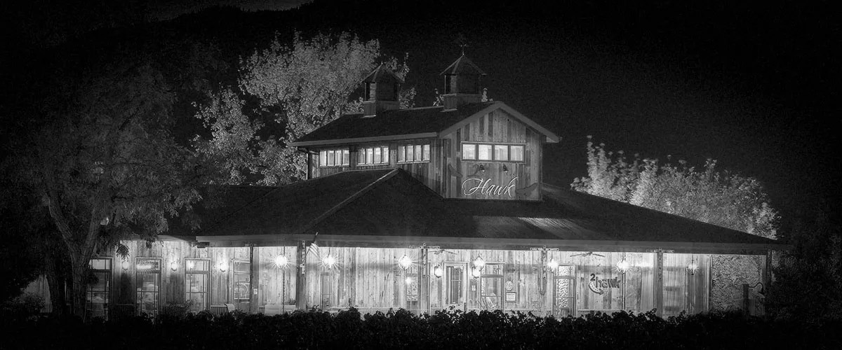 2Hawk Vineyard and Winery Tasting Room Night Shot (Grayscale)