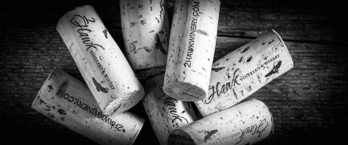 2Hawk Vineyard and Winery Wine Corks (Grayscale)