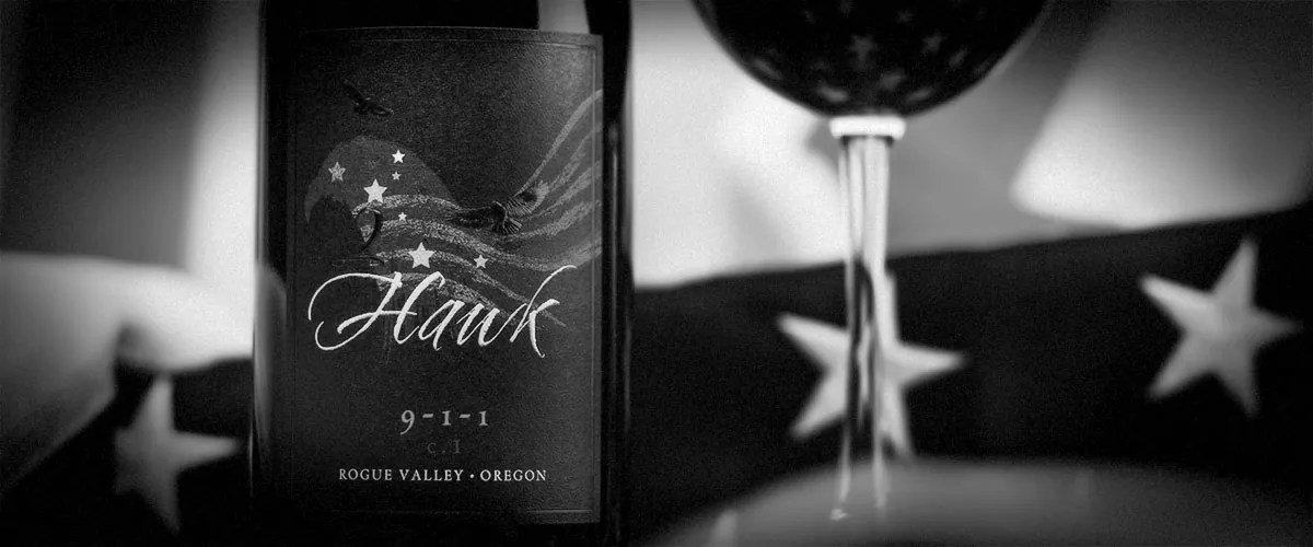 2Hawk 9-1-1 Wine with Flag (Grayscale)