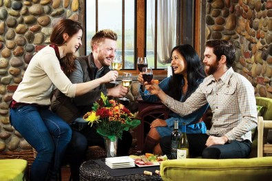 Couples Toasting in 2Hawk Vineyard and Winery Tasting Room