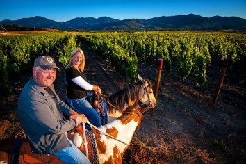 2Hawk Vineyard and Winery Owners Ross and Jen Allen Horseback Riding in Vineyard