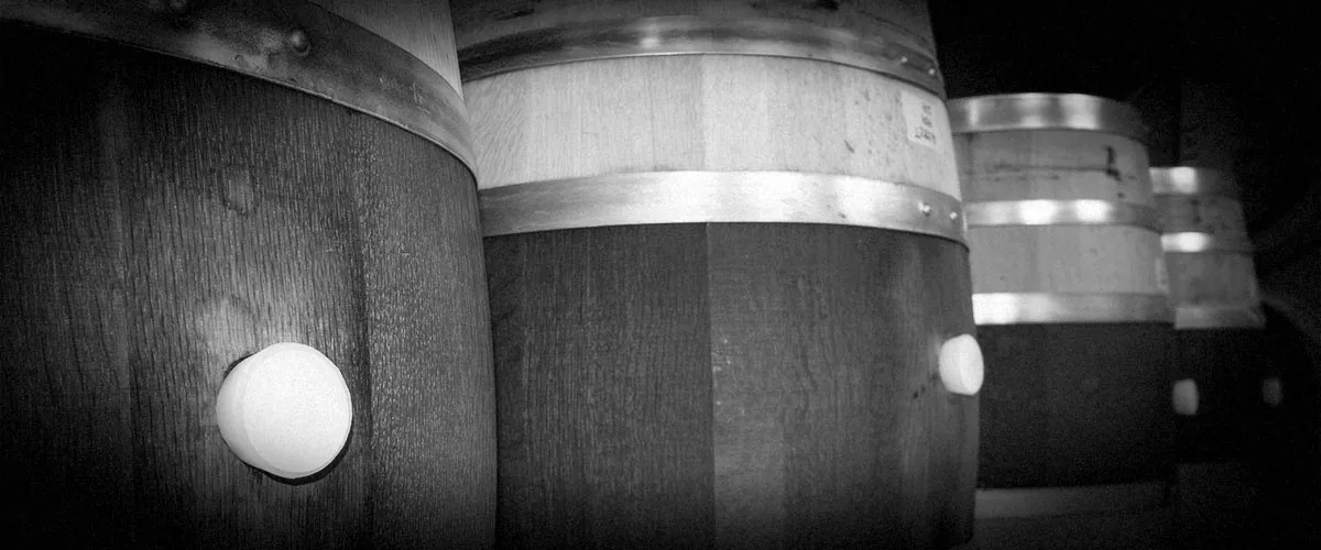 2Hawk Vineyard and Winery Wine Fermentation Barrels (Grayscale)