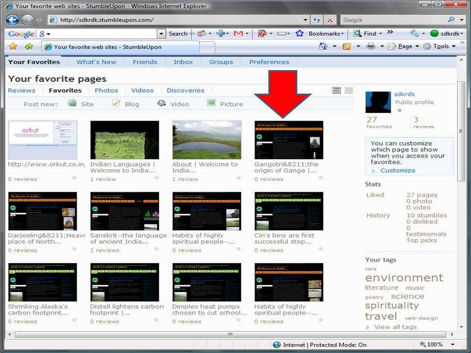 Bookmarked Webpages on Stumbleupon.com
