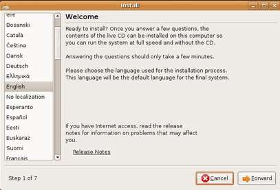 install ubuntu screenshot choose language