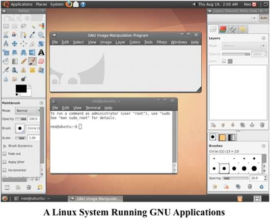 A linux system running GNU application