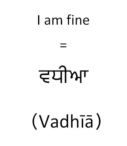 How to say in Punjabi I am fine conversational