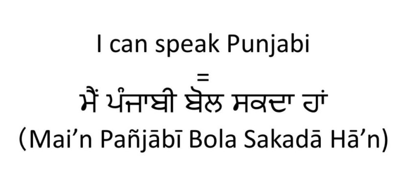 I can speak Punjabi