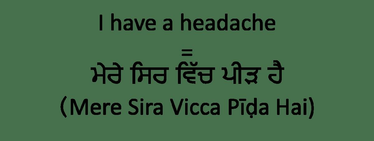 I have a headache in Punjabi version.jpg
