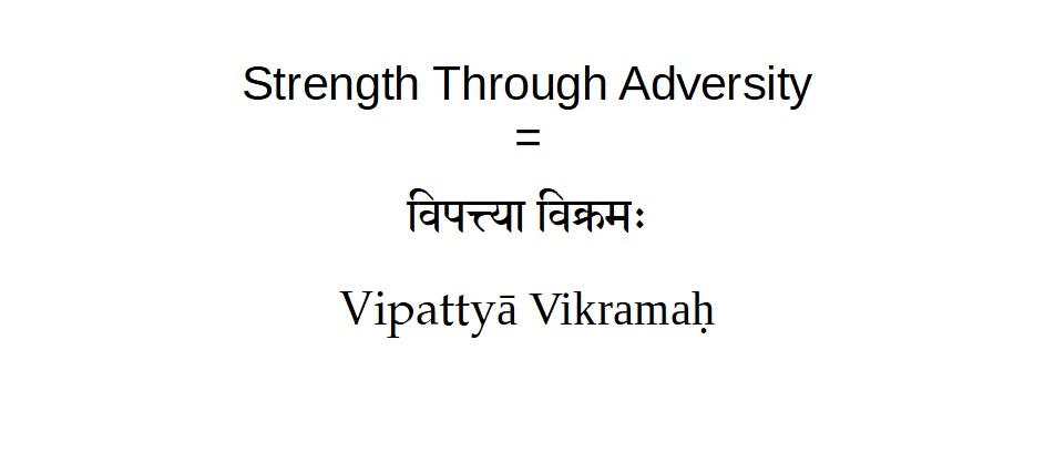 Sanskrit Tattoo Translation of Strength through Adversity