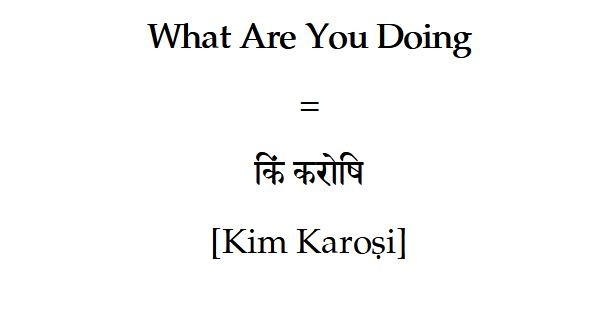 What are you doing in Sanskrit