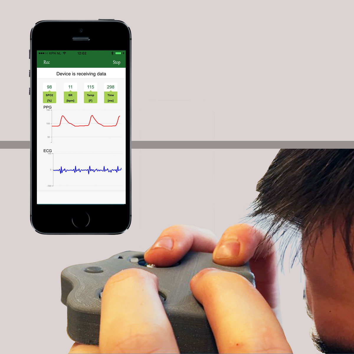 Vital Signs Wireless Health Tracker Finger Ecg Temp