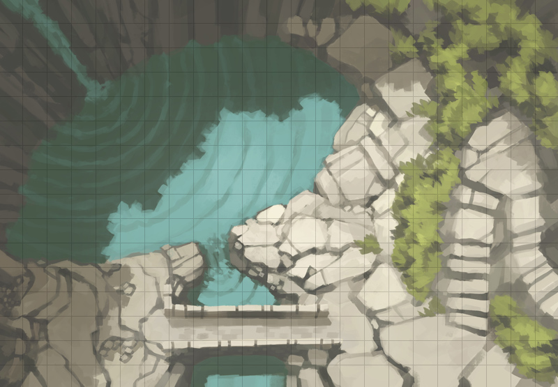 Tranquil Waterfall Battle Map (Square Grid)