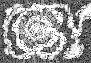 Glowing Grotto battle map, black & white